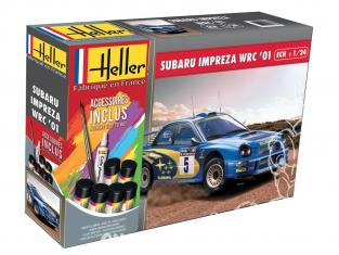 Heller maquette voiture 56761 Subaru Impreza WRC 2001 inclus peintures principale colle et pinceau 1/24