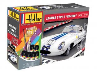 """Heller maquette voiture 56783 JAGUAR TYPE E """"Racing"""" inclus peintures principale colle et pinceau 1/24"""