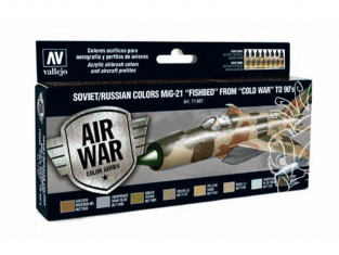 """Vallejo Set Model Air 71607 MiG-21 """"Fishbed"""" Soviétique / Russe de la Guerre froide aux Années '90 8 x 17ml"""