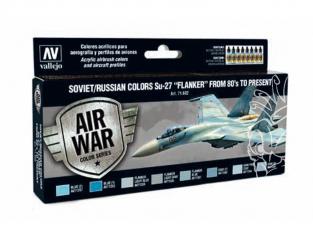 """Vallejo Set Model Air 71602 Sukhoi Su-27 """"Flanker"""" des Années 80' à Aujourd'hui 8 x 17ml"""