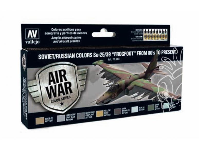 """Vallejo Set Model Air 71603 Sukhoi Su-25/39 """"Frogfoot"""" des Années 80' à Aujourd'hui 8 x 17ml"""