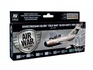 Vallejo Set Model Air 71610 Flechettes d'argent Soviétique / Russe Guerre froide 1950 - 1980 8 x 17ml
