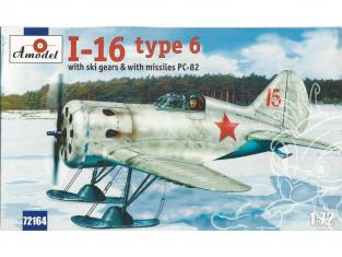 Amodel maquettes avion 72164 POLIKARPOV I-16 type 6 CHASSEUR SOVIÉTIQUE (avec skis et roquettes) 1940 1/72