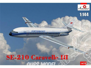 "Amodel maquette avion 1478 SUD-AVIATION SE-210 ""CARAVELLE"" III 1966 1/144"
