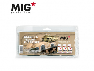 MIG Productions by Ak P264 Set de Filtres enamel Desert & Jaune 3 x 35ml