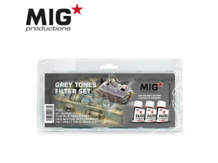 MIG Productions by Ak P266 Set de Filtres enamel pour tons gris 3 x 35ml