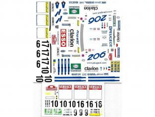 C.B.COM decal 24.110 206 WRC 1er San Remo 2000 1/24