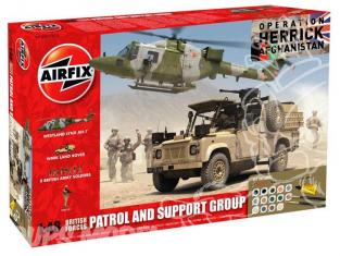 Airfix maquette coffret 50123 Forces britanniques land rover et 8 soldats et hélico en support operation Herrick Afghani