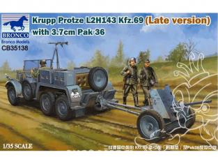 Bronco maquette militaire CB35138 KRUPP PROTZE L2H 143 Kfz.69 (version tardive) avec CANON ANTI CHAR 3.7cm Pak 36 1942  1/35