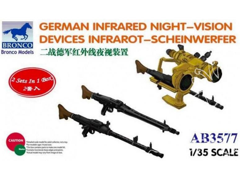 """Bronco maquette militaire AB3577 SYSTÈME D'ARMES INFRAROUGE pour COMBATS DE NUIT """"SCHEINWERFER"""" ALLEMAGNE 1945 1/35"""