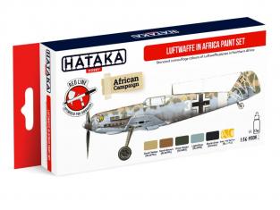Hataka Hobby peinture acrylique Red Line AS06.2 Set Luftwaffe en Afrique 6 x 17ml