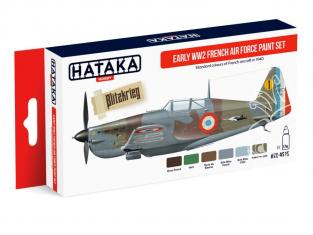 Hataka Hobby peinture acrylique Red Line AS16 Set Armée de l'Air Française WWII Début de Guerre 6 x 17ml