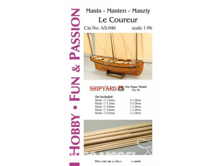 Vessel AS:046 Shipyard Accessoires pour la fabrication de mâts et de vergues pour Le Coureur AS51