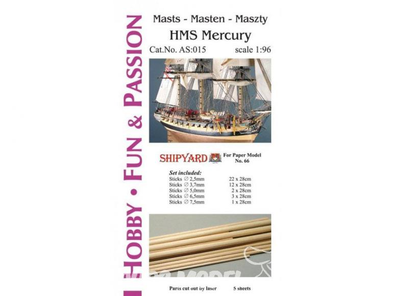 Vessel AS:015 Accessoires pour la fabrication de mâts et de vergues HMS Mercury 15 1/96