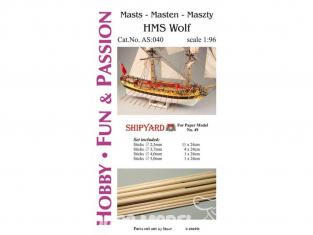 Shipyard AS:040 Accessoires pour la fabrication de mâts et accastillage HMS Wolf ref 49 1/96