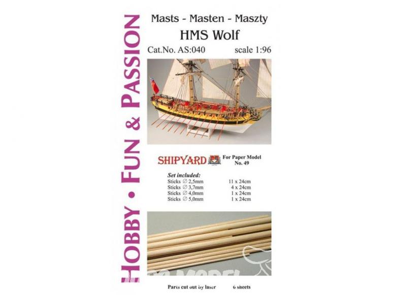 Vessel AS:040 Accessoires pour la fabrication de mâts et accastillage HMS Wolf ref 49 1/96