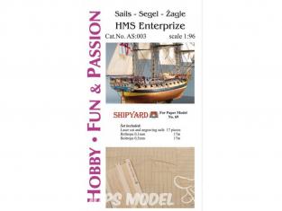Shipyard AS:003 Voiles et Ralingue pour HMS Entreprise ref 69 1/96