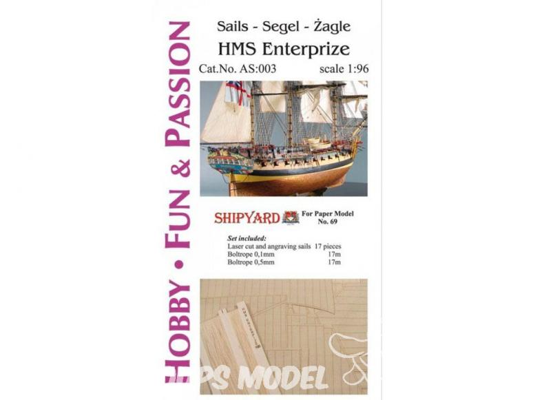 Vessel AS:003 Voiles et Ralingue pour HMS Entreprise ref 69 1/96