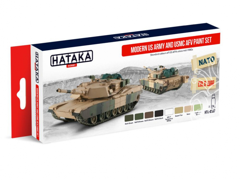 Hataka Hobby peinture acrylique Red Line AS67 Set Modern US Army & USMC AFV 8 x 17ml