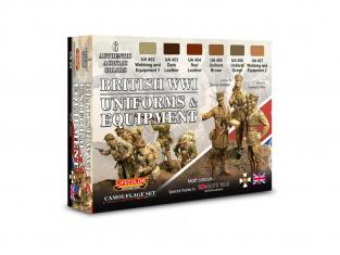 Lifecolor set de peintures cs45 Couleur Uniforme et equipement Anglais WWI