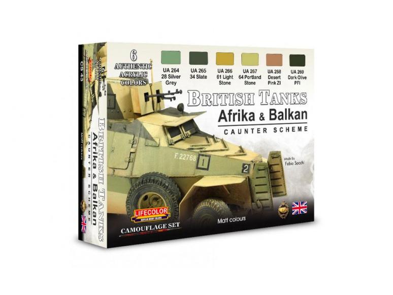 Lifecolor set de peintures cs43 Couleur Blindé Anglais WWII Afrique et Balkans