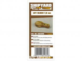 Shipyard ASB:048 Poulies de levage 7,5mm 8piéces