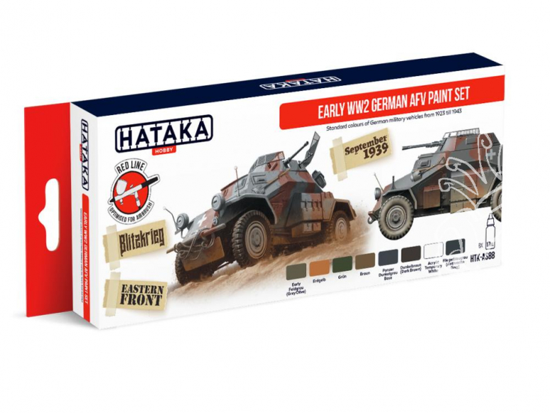 Hataka Hobby peinture acrylique Red Line AS88 Set Early WWII German AFV 8 x 17ml