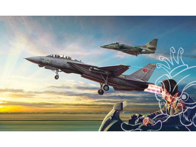 """Italeri maquette avion 1422 """"Top Gun"""" F-14A vs A-4F 2 kits inclus 1/72"""