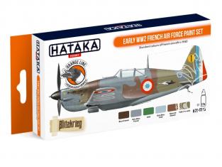 Hataka Hobby peinture laque Orange Line CS16 Set Armée de l'Air Française WWII Début de Guerre 6 x 17ml
