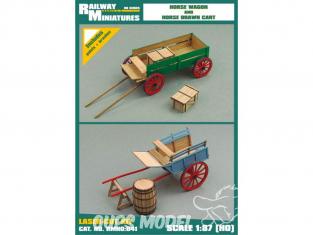 Railway Miniatures RMHO:041 Wagon à chevaux et charrette tirée par des chevaux HO 1/87