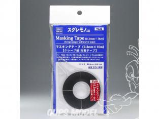 HASEGAWA TL16 Ruban de masquage (0,3 mm × 16 m) Ruban adhésif en papier crêpé