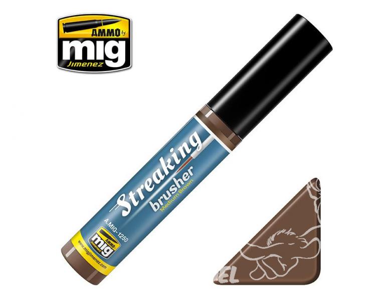 MIG Streakingbrusher 1250 Brun Moyen Peinture Streaking avec applicateur 10ml