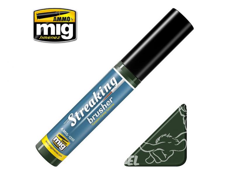 MIG Streakingbrusher 1256 Crasse Vert gris Peinture Streaking avec applicateur 10ml
