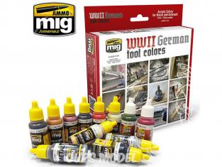 MIG peinture 7179 Set Couleurs Outils Allemands 12 x 17ml