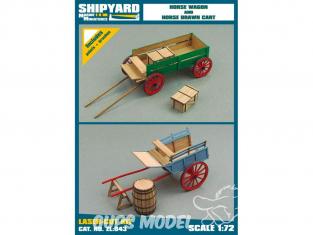 Shipyard ZL:043 Wagon à chevaux et charrette tirée par des chevaux 1/72