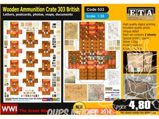 ETA diorama 533 Caisse de munutions facon bois britaniques 303 WWI 1/35