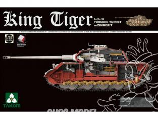 Takom maquette militaire 2046S King Tiger tourelle Porsche Zimmerit Sd.Kfz.182 intérieur détaillé chenilles maillon maillon 1/35
