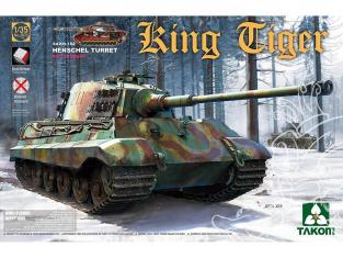 Takom maquette militaire 2073S King Tiger tourelle Henschel Interieur complet  chenilles maillons par maillons1/35