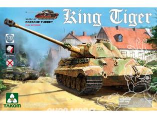 Takom maquette militaire 2074S King Tiger tourelle Porsche Interieur complet chenilles maillons par maillons 1/35