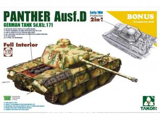 """Takom maquette militaire 2103 Sd.Kfz.171 """"PANTHER"""" Ausf D Intérieur détaillé 2 en 1 (bonus coque transparente) 1/35"""
