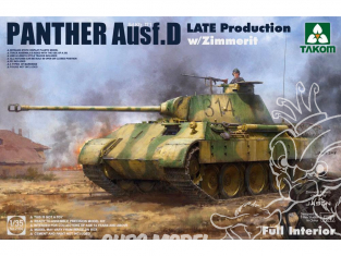 """Takom maquette militaire 2104 Sd.Kfz.171 """"PANTHER"""" Ausf D (fin de prod.) avec Zimmerit Intérieur détaillé 1/35"""