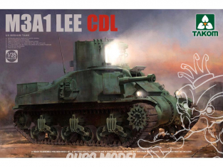 """Takom maquette militaire 2115 CHAR MOYEN US M3A1 LEE """"CDL"""" (Canal Defence Light) 1945 1/35"""
