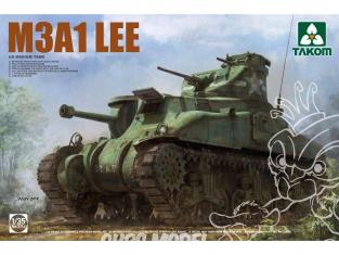 """Takom maquette militaire 2114 US M3A1 """"LEE II"""" CHAR MOYEN COQUE MOULÉE 1943 1/35"""