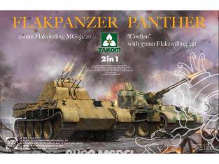Takom maquette militaire 2105 FLAKPANZER PANTHER COELIAN canon anti-aérien 37mm et 20mm 2 en 1 1/35