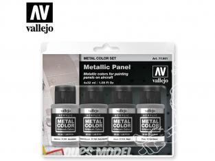 Vallejo Set Metal Color 77601 Panneaux métalliques 4 x 32ml