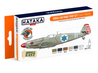 Hataka Hobby peinture laque Orange Line CS34 ISRAELI AIR FORCE PAINT SET (EARLY PERIOD) 6 x 17ml