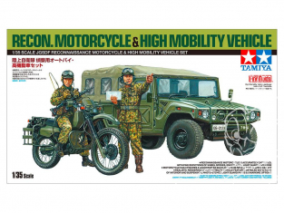 tamiya maquette militaire 25188 JGSDF RECONNAISSANCE MOTORCYCLE & HIGH MOBILITY VEHICLE SET  1/35
