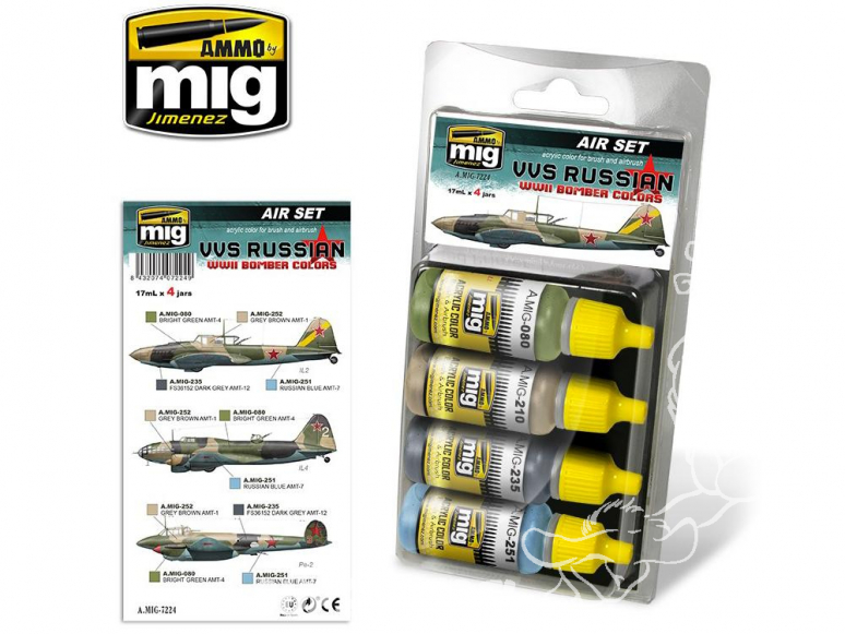MIG peinture 7224 Set couleurs Russes VVS Bombardiers WWII 4 x 17ml