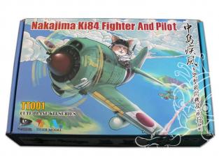 Tiger Model maquette avion Cute TT001 Nakajima Ki-84 Hayate avec pilote Chat