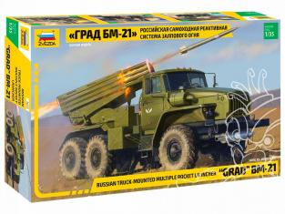 """Zvezda maquette militaire 3655 Système de roquettes multiples autopropulsé russe """"Grad"""" BM-21 1/35"""